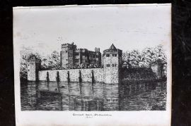 Anastatic Drawing Society 1858 Print. Caverswall Castle, Stafforshire